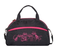 "Спортивная сумка №98, ""коты, цветы, зайцы, фитнес"", ткань жатка черный"
